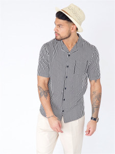 Black Stripe Cuban Collar Short Sleeve Shirt