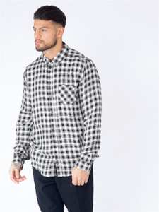 Black Curved Hem Check Shirt