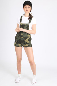 Camo Short Dungaree With Front Patch Pocket
