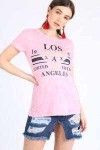 Pink Los Angeles Slogan Tee