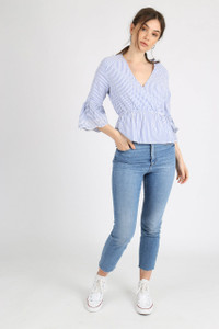 Blue Stripe Schiffli Hem Sleeve Wrap Top