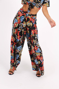 Black Floral Print Front Split Trousers