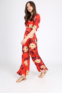 Red Floral Print Side Split Trousers