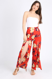 Red Floral Front Split Trousers