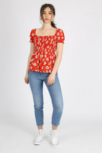Red Floral Shirred Square Neck Top