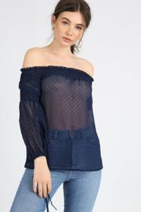Sheer Blue Shirred Bardot Top