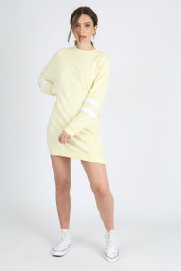 Pastel Yellow Sports Stripe Jumper Dress