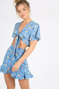 Blue Ditsy Print Tie Front Crop Top