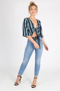 Navy Stripe Kimono Sleeve Tie Front Crop Top