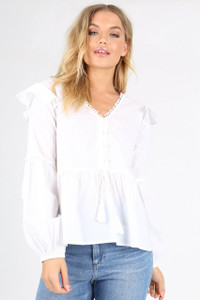 White Soft Gather Peasant Blouse