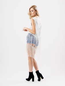 Embroided Cheesecloth Waistcoat With Fringes