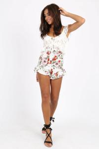 White Floral Print Ruffle Hem Shorts