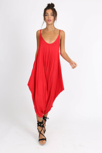 Red Harem Style Jumpsuit