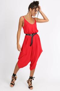 Red Harem Style Jumpsuit