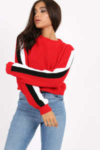 Red Sports Stripe Knitted Crop