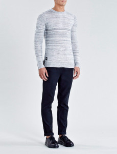 Grey Melange Dent Knit Sweater With Split Hem And Drop Tail