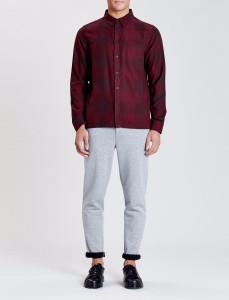 Burgundy Chalgrove Check Straight Hem Shirt