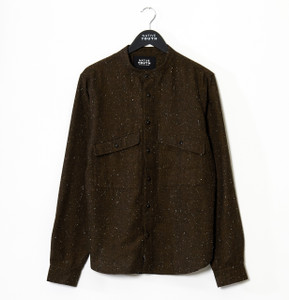 Brown Alford Curved Hem Long Sleeve Shirt