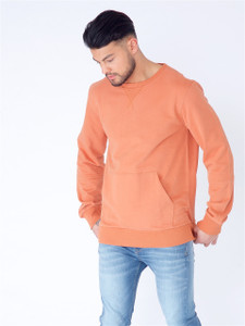 Rust Long Sleeve Sweat with Kangaroo Pocket