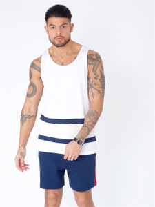 White Colour Block Vest