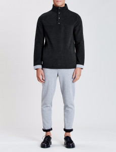 Black Stratton Double Faced Funnel Neck Sweat