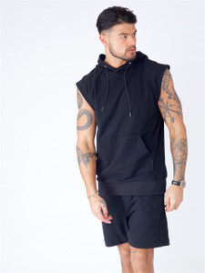 Black Sleeveless Hooded Sweat With Piping Detail & Enzyme Wash