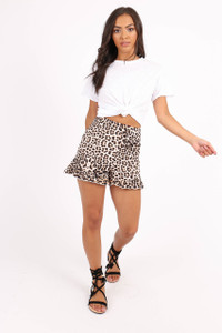 4320f2be62 ... Leopard Print High Waist Frill Hem Shorts