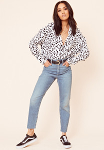 White Dalmatian Print Button Down Shirt