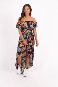 Black Floral Print Wrap Skirt Maxi Dress