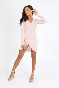 Dusty Pink Plissé Mini Dress