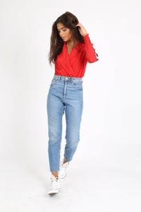Red Sports Stripe Plunge Bodysuit