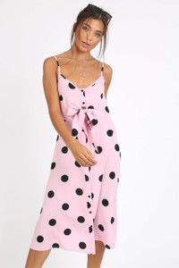 Pink Polkadot Tie Front Midi Dress