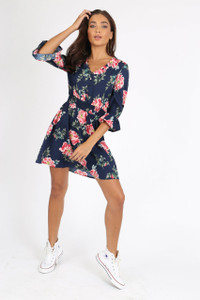 Navy Floral Button Down Mini Dress