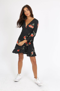 Black Multi Print Ruffle Wrap Mini Dress