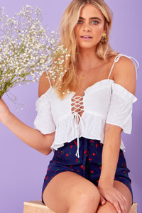 Broderie Lace Up Crop Top