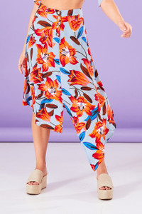 Lola Floral Asymmetric Midi Skirt