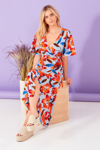 Lola Floral Wrap Midi Dress