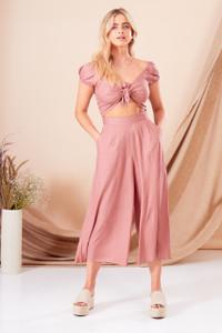 Pink Tie Front Culotte Jumpsuit