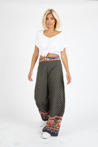 Multi Scarf Print Wide Leg Trouser