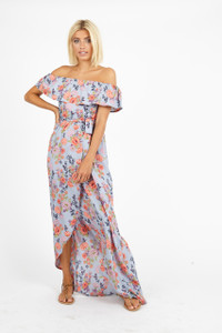 Blue Pink Floral Bardot Maxi Dress