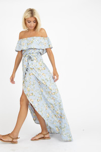 Blue Green Floral Bardot Maxi Dress