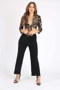 Black Slinky Tie Front Pants