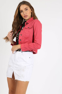 White Distressed Denim Mini Skirt