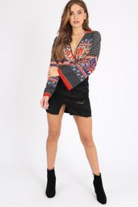 Multi Scarf Print Flute Sleeve Bodysuit