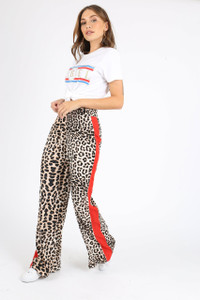 Leopard Print Sports Stripe Wide Leg Pants