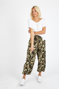 Camo Print Tie Front Utility Trousers