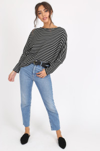 Black White Stripe Long Sleeve Batwing Dip Hem Top