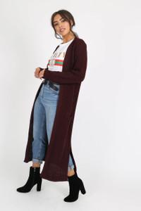Wine Oversized Knitted Cardigan