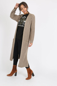 Beige Oversized Knitted Cardigan