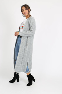 Grey Over Sized Knitted Cardigan